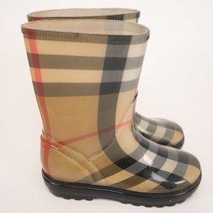 Burberry Nova Chek Rubber Rain Boots - Size 13T